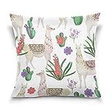 Funda de almohada decorativa de cojín cuadrada, funda de almohada de estilo hip-ster, con diseño de llama, alpaca, cactus, funda de almohada de dos lados de 40,6 x 40,6 cm