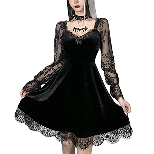 abito donna gotico Abito da donna in velluto gotico Y2k scuro estetico Harajuku abito pizzo Trim manica lunga patchwork vintage vestito punk
