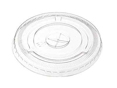 [100 Pack] Crystal Clear PET Plastic Lids With Straw Slot for 12, 16, 20 & 24 oz. Milkshake Cups (Flat Lids)