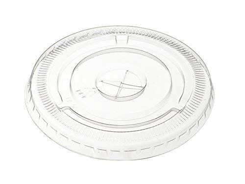 [100 Pack] Crystal Clear PET Plastic Lids With Straw Slot for 12, 16, 20 \& 24 oz. Milkshake Cups (Flat Lids)