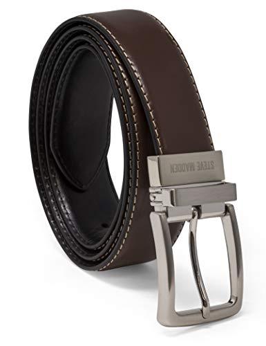 Steve Madden Men's Dress Casual Every Day Reversible Leather Belt, Brown/Black, 34