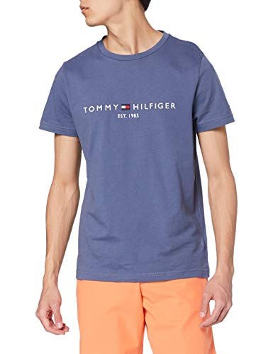 Tommy Hilfiger Organic Cotton Logo T-Shirt Camiseta, Faded Indigo, M para Hombre
