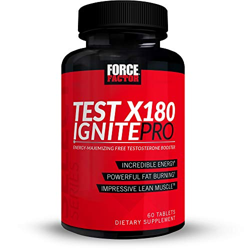 Test X180 Ignite Pro Testosterone Booster and Pre Workout for Men with Fenugreek Seed, Zinc, and Caffeine to Build Lean Muscle, Burn Fat, Boost Athletic Performance, Force Factor, 60 Tablets