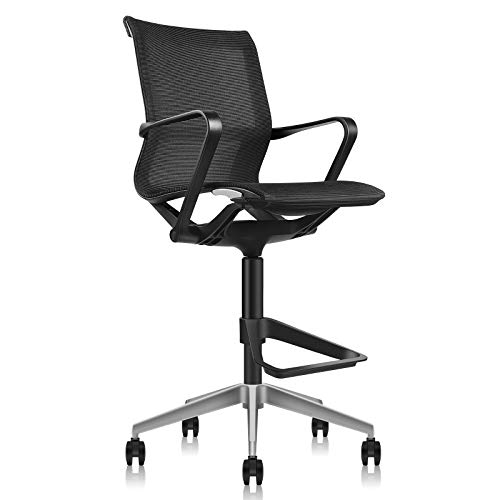 MOOJIRS Ergonomic Drafting Chair | with Adjustable Seat Height and Foot Rest | Breathable Mesh Fabric | All aluminum alloy base with Multi-Direction Casters|for Standing Desk-Seat Height 23.82'-29.33'
