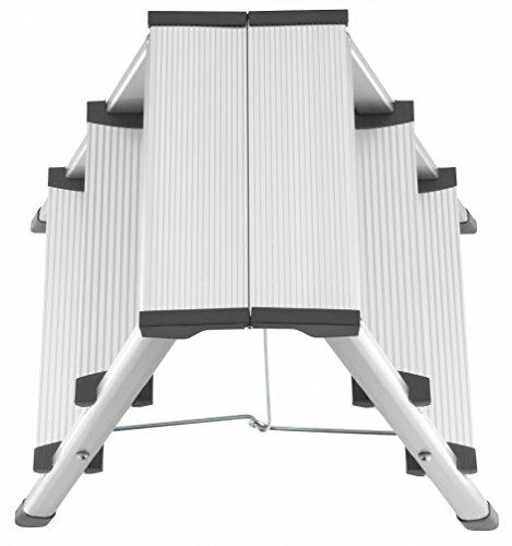 Hailo 4443-701 L90 Stepke Aluminum, 3 Stool, Step Ladder, Silber