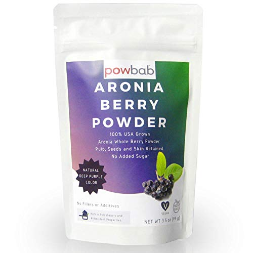 powbab Aronia Berry Powder from 100% USA Grown Organic Aronia Chokeberry. No Added Sugar. Not Freeze Dried. Made in the USA Black Chokeberry for Immune System, Circulation, Anti Inflammatory. (3.5 Oz)