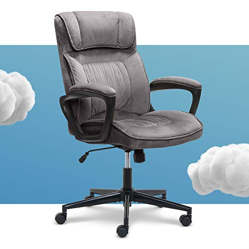 Serta Executive Office Chair Ergonomic Computer Upholstered Layered Body Pillows Contoured Lumbar Zone Base Fabric Black/Grey
