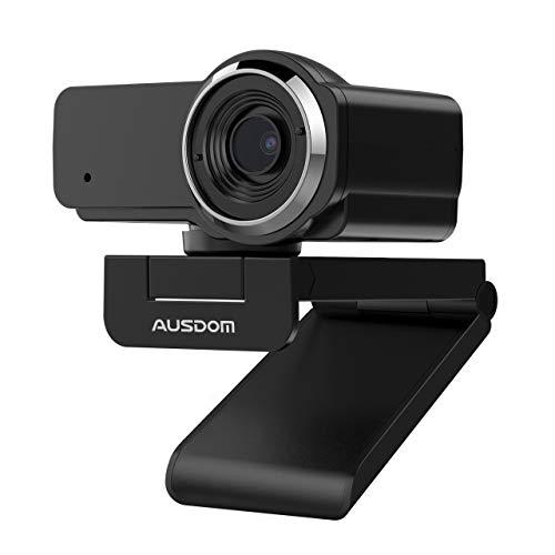 AUSDOM Webcam Full HD 1080P PRO con Microfono, Fotocamera PC USB, Grandangolo per Chat Video Registrazione su Youtube Skype, Compatibile con Windows 7 8 10   XP Chrome Mac OS