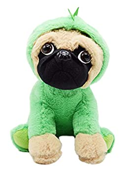 BABOLI Cuddly Pug Stuffed Animal| Soft Toys with Adorable Dinosaur Costumes| Super Cute Puppy Dog Plush Animals for Birthday Gifts or Party Supplies| Good Choice for Children|10 Inch