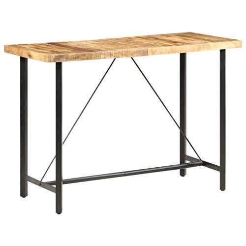 vidaXL Rough Mango Wood Bar Table Dinner Pub Coffee Wooden Table Kitchen Dining Living Room Furniture Home Decor Restaurant Rectangular