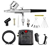 COSSCCI Mini Airbrush Kit, Portable Dual-Action Air Brush Pen Gravity Feed Airbrush with Compressor Kit for Cake Decorating Makeup Art Nail Model Painting Tattoo Manicure