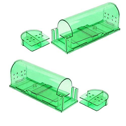 Trampas De Ratón De La Jaula De Roedores Trampa Duradera Easy Set Plástico Mouse Trap Interior Al Aire Libre De Pequeño Roedor Campañoles del Ratón 2 Piezas De Verde