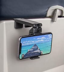 "✈️ Compact and light weight to take anywhere you go. Perfect phone holder when flying ""Bring Your Own Device"" airplane. ✈️ Strong clamp to mount your phone to table, luggage handle, gym equipments or any objects up to 1.5 inch wide. ✈️ Dual joints wi..."