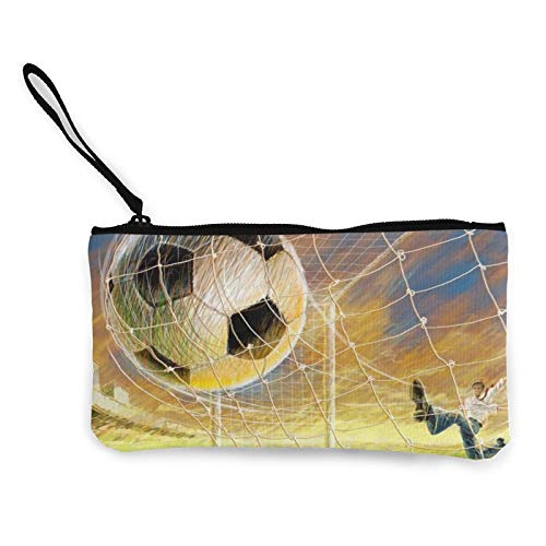 Moneda de lona, bolso de fútbol con cremallera, bolsa de cosméticos de viaje, multifunción, bolsa de maquillaje, bolsa de teléfono móvil, paquete de lápices con asa
