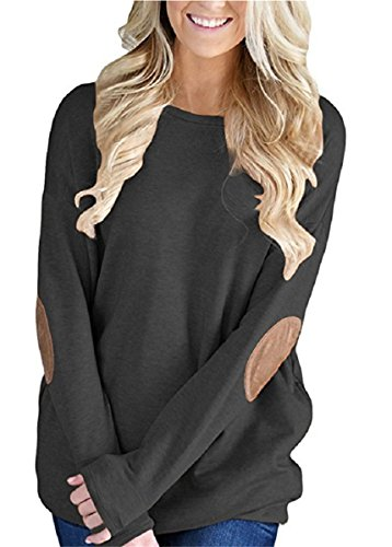 Unidear Womens Casual Solid Long Sleeve Crewneck Pullover Tunic T Shirt Tops #2-Style Black M