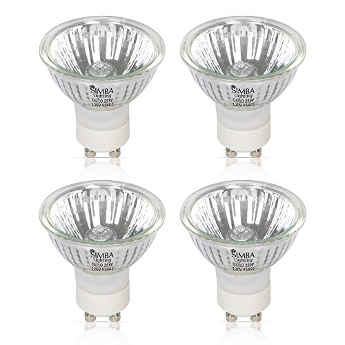 Simba Lighting 25W NP5 Candle Warmer ETC Replacement Light Bulb (4 Pack) Halogen GU10 120V for Wax Melt, Tart Burner, Recessed, Track Lighting, MR16 JDR with Glass Cover, Dimmable, Warm White 2700K