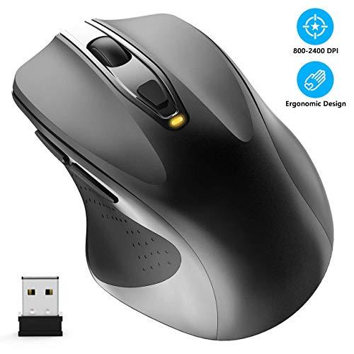 WisFox Kabellose Maus, 2,4 G in voller Größe Kabellose Computermaus ergonomische Maus 6 Tasten Laptop-Maus USB-Maus mit Nano-Empfänger 5-Level-DPI-einstellbare schnurlosedrahtlose Mäuse für Windows