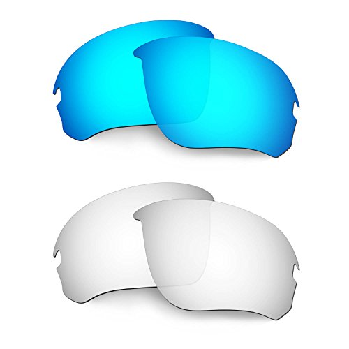 HKUCO Mens Replacement Lenses for Oakley Flak Draft Blue/Titanium Sunglasses