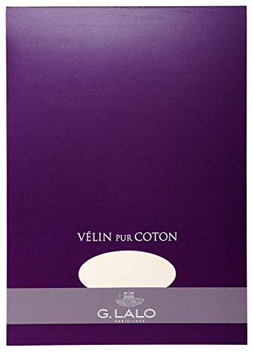 G.Lalo 11800L Schreibblock Vélin de France (50% Hadern, DIN A4, 21 x 29,7 cm, 40 Blatt, 125 g) creme