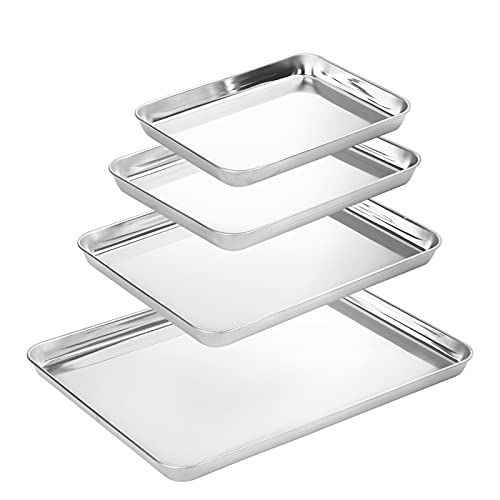 Suwimut Baking Sheet Set of 4, Heavy Duty Stainless Steel Baking Pans Tray Cookie Sheet, Half Sheet Pan for Baking, Non Toxic, Easy Clean and Dishwasher Safe