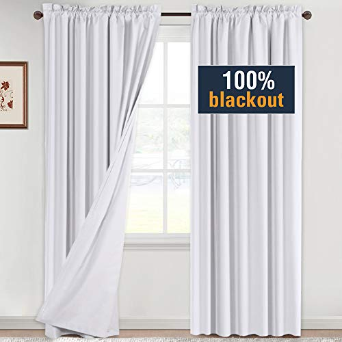 H.VERSAILTEX 100% Blackout White Curtains 96 Inches Long Full Light Blocking Curtain Draperies for Bedroom Living Room Thermal Insulated Functional Soft Thick Window Treatment Set of 2 Panels