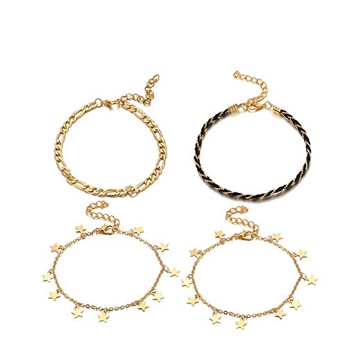 JYBHSH Gold Small Lady Anklet Multilayer Braided Rope Chain Charm Anklet Bracelet Anklet (Size : 8383)
