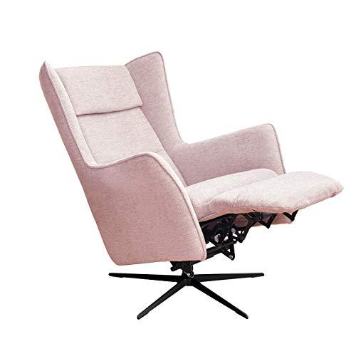 place to be. Sillón orejero con función relax y motor, sillón giratorio y ajustable, respaldo y reposapiés ajustables con batería, color rosa