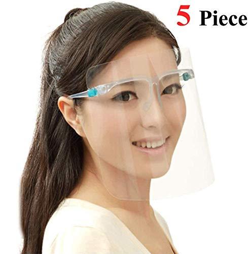 Visier Gesichtsschutz Brille Full Face Shield Stoff Schutzvisier Gesichtsvisier Face Shields Voll Gesichtsschutz aus Kunststoff SchutzschildGesicht für Männer Frauen (5 Pack)