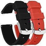 Fengyiyuda 2 Piezas Correa Reloj 20mm, Correas de Reloj Galaxy Watch Active 2, Hebilla de Acero Inoxidable, Compatible con Correa Watch 2/Garmin,Negro/Naranja
