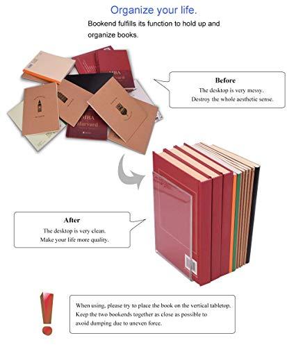 MerryNine Plastic Acrylic Bookends Pair Organizer Bookshelf Decor Decorative Bedroom Library Office School Supplies Stationery Gift (Plastic Acrylic_4 Pairs) Photo #3