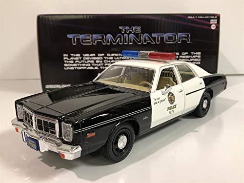 1977 Dodge Monaco Metropolitan Police Black and White The Terminator (1984) Movie 1/24 Diecast Model Car by Greenlight 84101