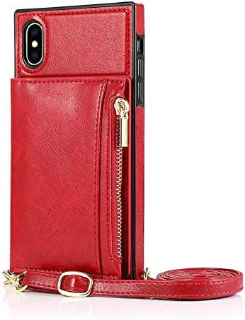 Happy-L Case for iPhone Xs, Zipper Wallet Case with Credit Card Holder/Crossbody Long Lanyard, Shockproof Leather TPU Case Cover for iPhone Xs (Color : Red)
