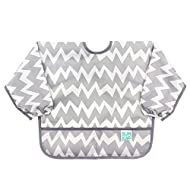 Bumkins Sleeved Bib / Baby Bib / Toddler Bib / Smock, Waterproof, Washable, Stain and Odor Resistant, 6-24 Months - Gray Chevron