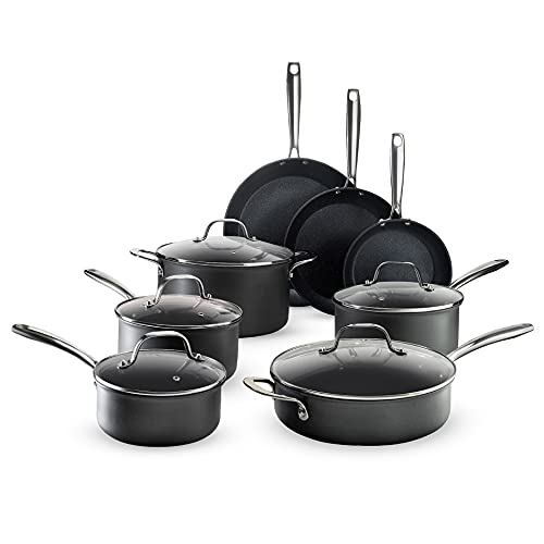 Granitestone Pro Pots and Pans Set 13 Piece Hard Anodized Premium Chef's Cookware with Ultra Nonstick Diamond & Mineral Coating, Stainless Steel Stay Cool Handles Oven Dishwasher & Metal Utensil Safe