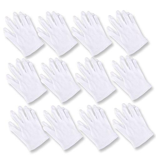 Baumwollhandschuhe, UEETEK 12 Paar Elastische Schutzhandschuhe für Catering / Gartenarbeit / Kostüm / Münzsammlung ETC, Weiß ,23 * 12 CM (L * W)