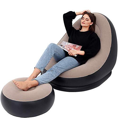 LONEEDY Sofá inflable de ocio silla y reposapiés sofá plegable al aire libre sofá flocado Lazy Sofa (marrón)