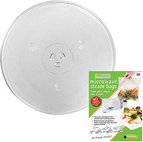 SPARES2GO Universal Glass Turntable Plate + Quickasteam Bags for all makes of Microwave Oven (315mm / 12.5' Diameter)