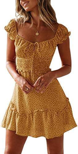 Yobecho Womens Summer Ruffle Sleeve Sweetheart Neckline Printing Dress Mini Dress Small Yellow product image