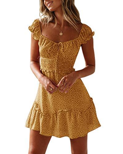 Ybenlover Damen Blumen Sommerkleid High Waist Volant Kleid Vintage Minikleid Strandkleid, Gelb, S