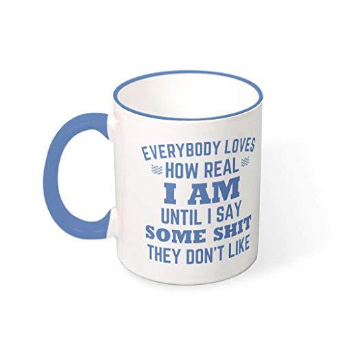 Wingard Leviosar Taza de café con texto en inglés 'Everybody Loves', de cerámica personalizada, para oficina, acero azul, 330 ml