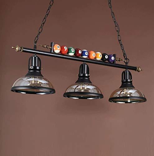 Luz colgante restaurante mesa de comedor lámpara colgante vintage diseño decorativo creativo salón de billar bar cafetería comedor altura ajustable iluminación interior pantalla de cristal,E27*3 l98cm