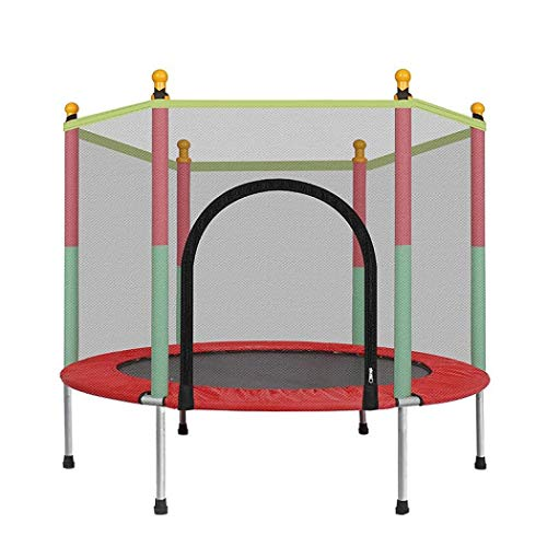 Trampolines for Indoor and Outdoor Kids Trampoline with Enclosure Net Jumping Mat and Spring Cover Padding Trampoline Recreational Trampolines for Kids, Max Weigh 330 lbs (Red)