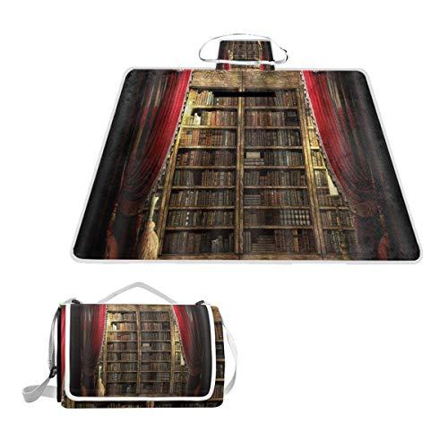 XINGAKA Manta de Picnic Impermeable,Estantería de Biblioteca Vintage encendida con la Escoba...