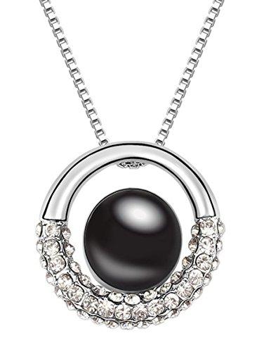 Quadiva- Collana da donna con ciondolo con perla (colore: oro bianco/nero) e cristalli Swarovski® scintillanti