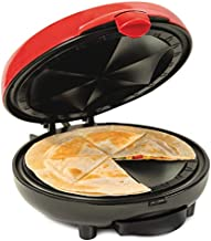 Nostalgia EQM8 6-Wedge Electric Quesadilla Maker with Extra Stuffing Latch, Red