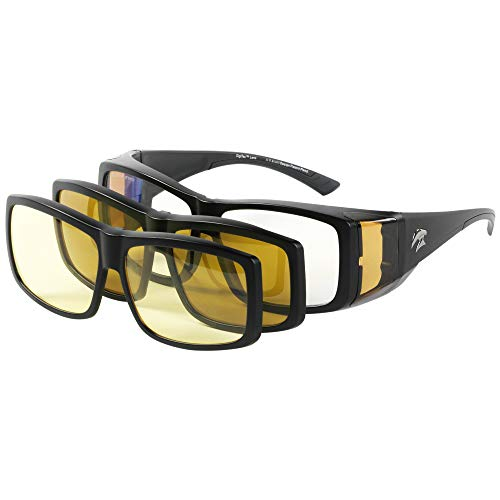 3in1 SuperSight System FitOns Full Frame - The Magnetic Clip-on Fit Over Glasses - Computer Lens Based Frame/Polarized Sunglass Clip-on/Night Driving Clip-on
