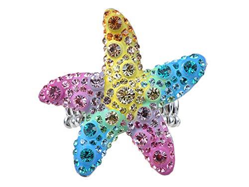Alilang Neon Bright and Colorful Rainbow Dancing Starfish Rhinestone Stretch Adj Fashion Ring