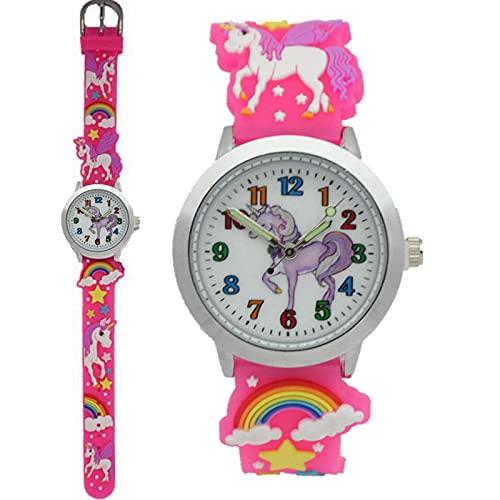 Reloj Niño HCGS niños niños Estudiantes Arco Iris Unicornio Dinosaurio Coloridos Relojes de Silicona Estrellas Regalo de Fiesta Reloj de Pulsera de Cuarzo D