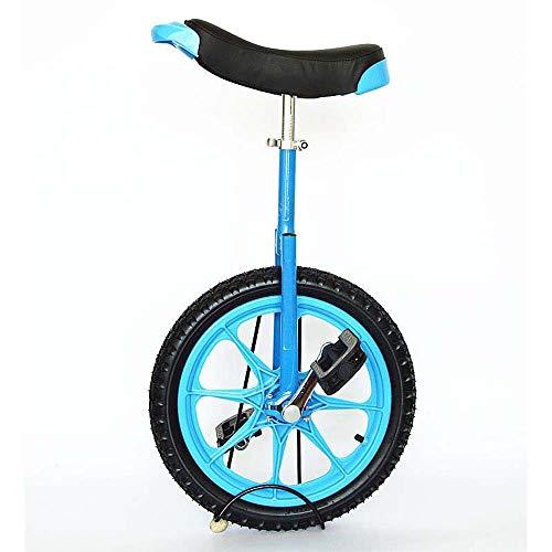 Mädchen Kid Einrad, Double-Layer Verdickte Reifen Anti-Skid-Fahrrad Einstellbare Höhe Übung Fitness Einzel Runde Fahrrad Gleichgewicht Radfahren,Blau