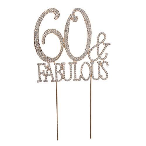 Toyvian Cake Topper Strass 60. Geburtstag Kuchen Topper 60 Fabulous Torten Topper für 60 Geburtstag Hochzeitstag Party Dekorationen (Golden)